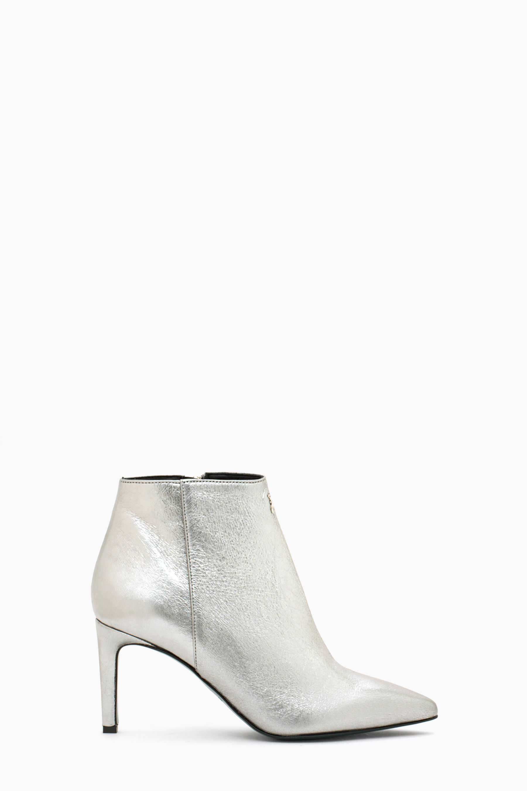 Metallic leather ankle boot