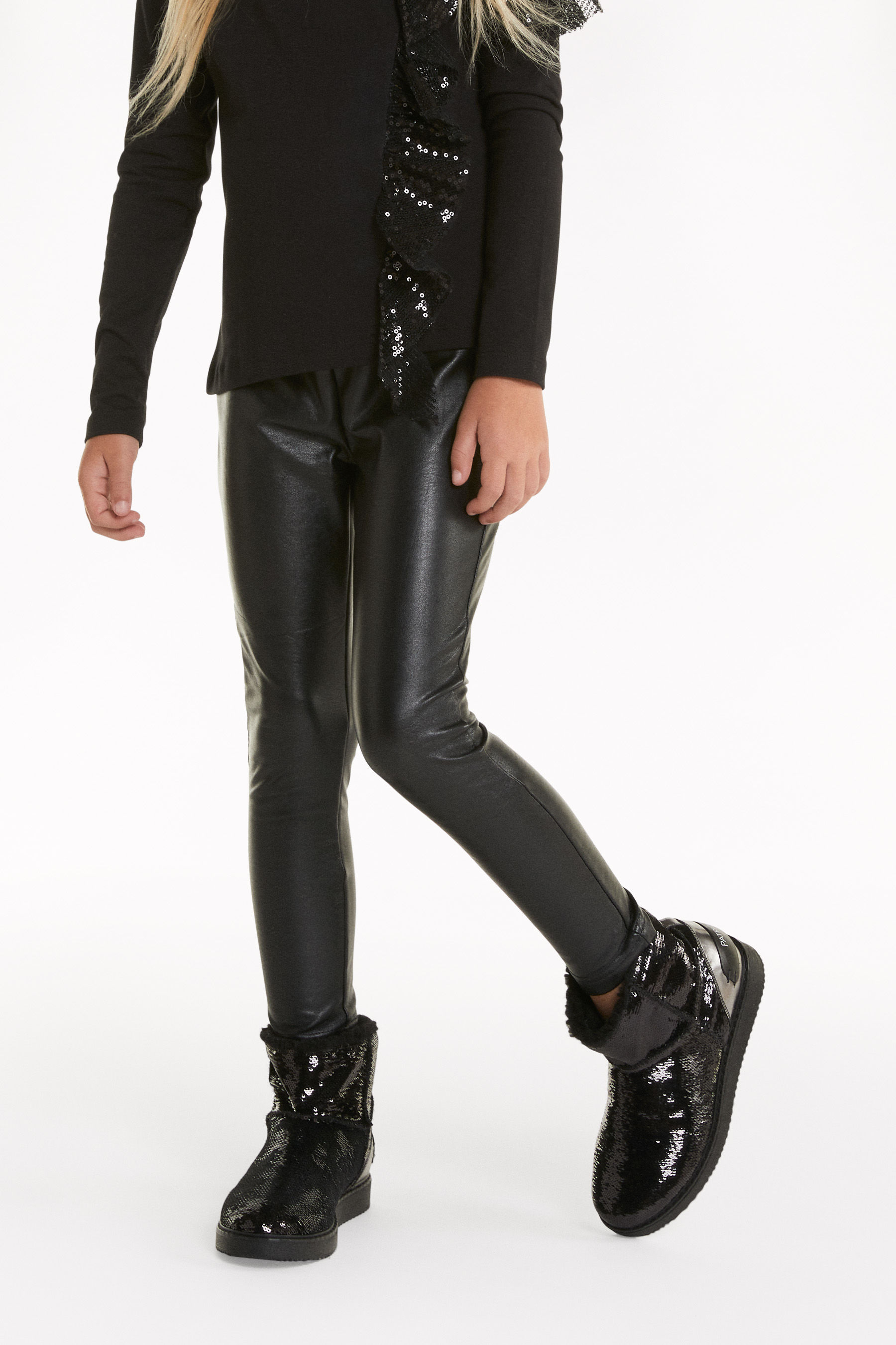 Synthetic leather leggings