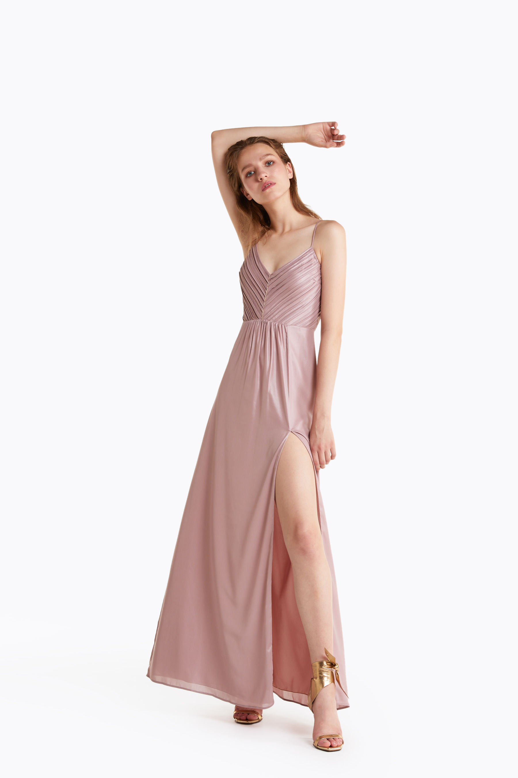 Laminated georgette long dress