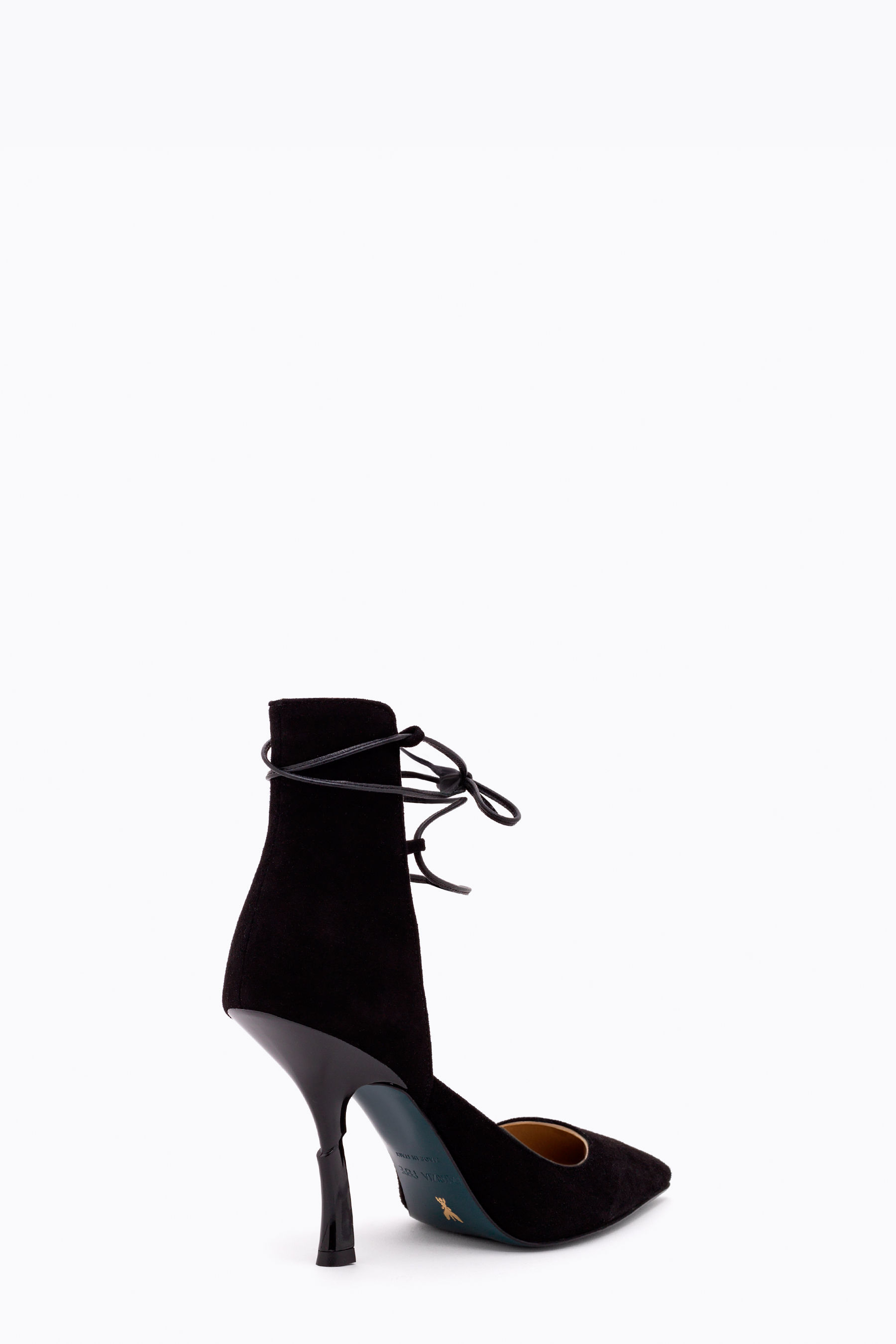 Suede pumps with lacing on ankle