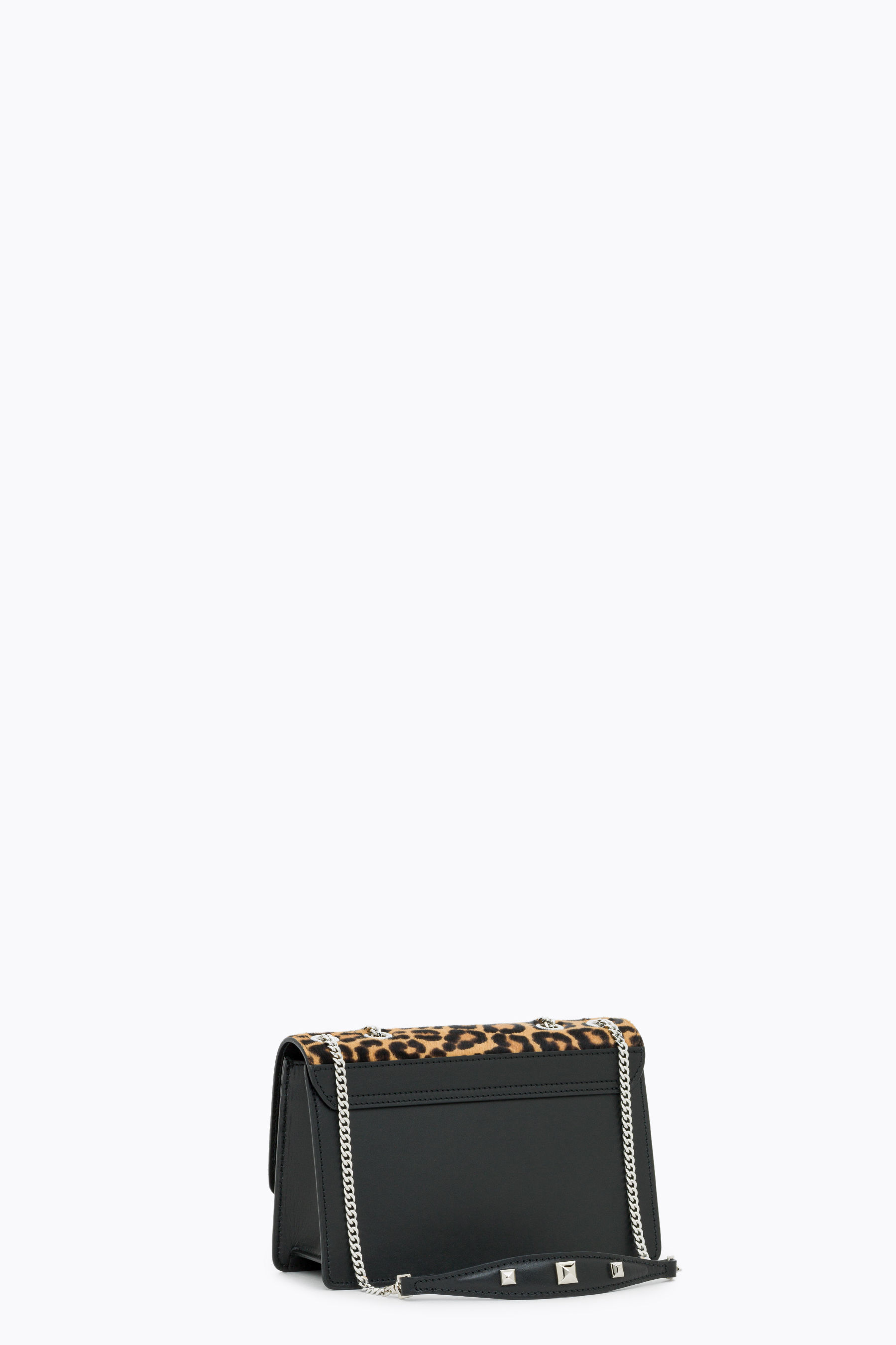 Leather and pony hair crossbody bag