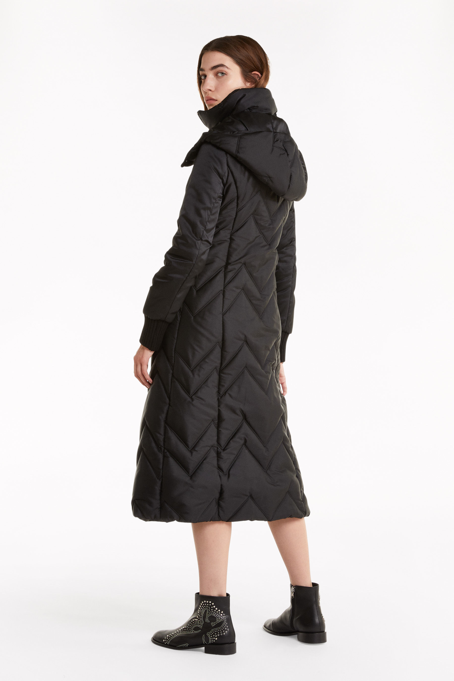 Long quilted down jacket with hood