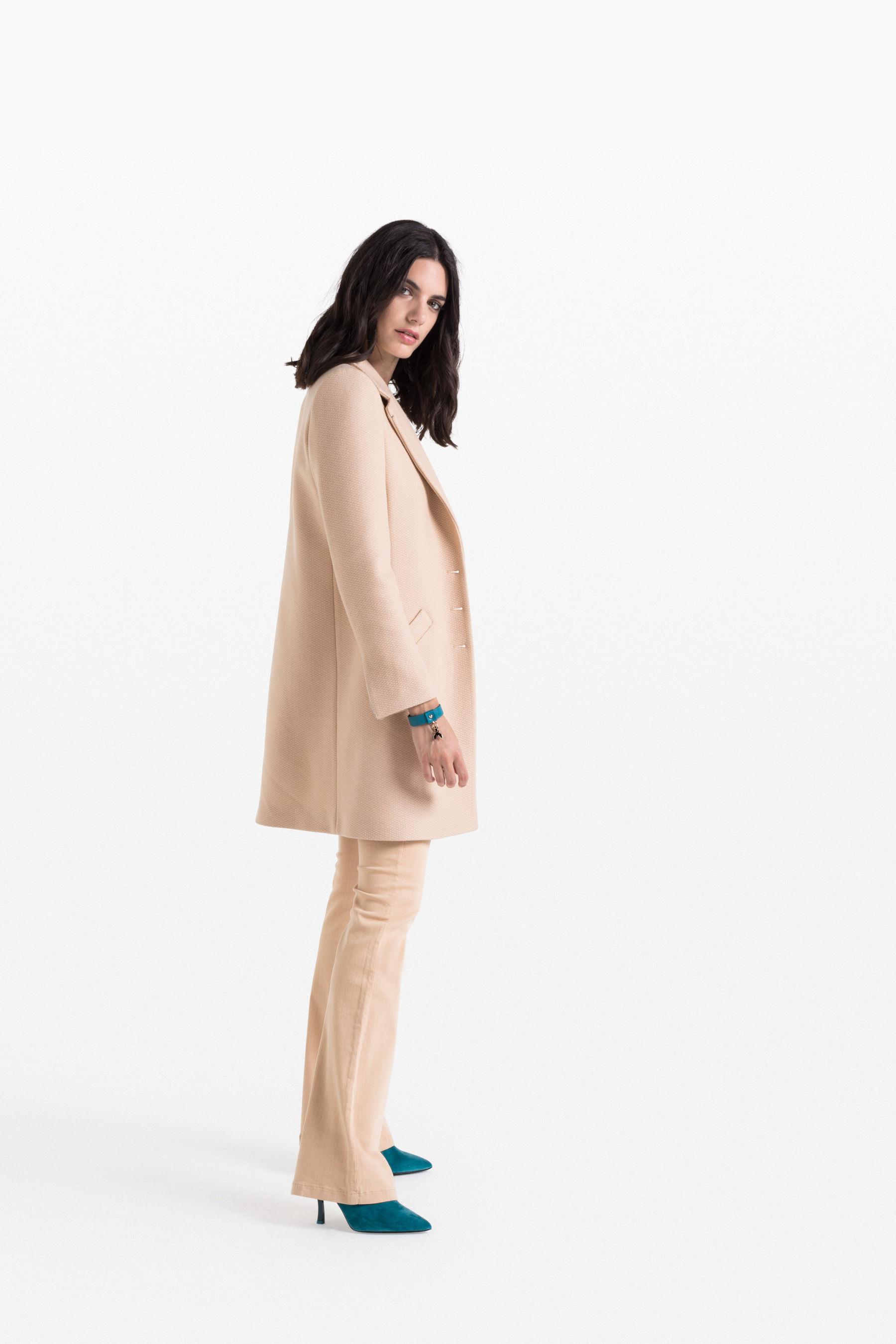 manteau en laine bgn ivoire femme