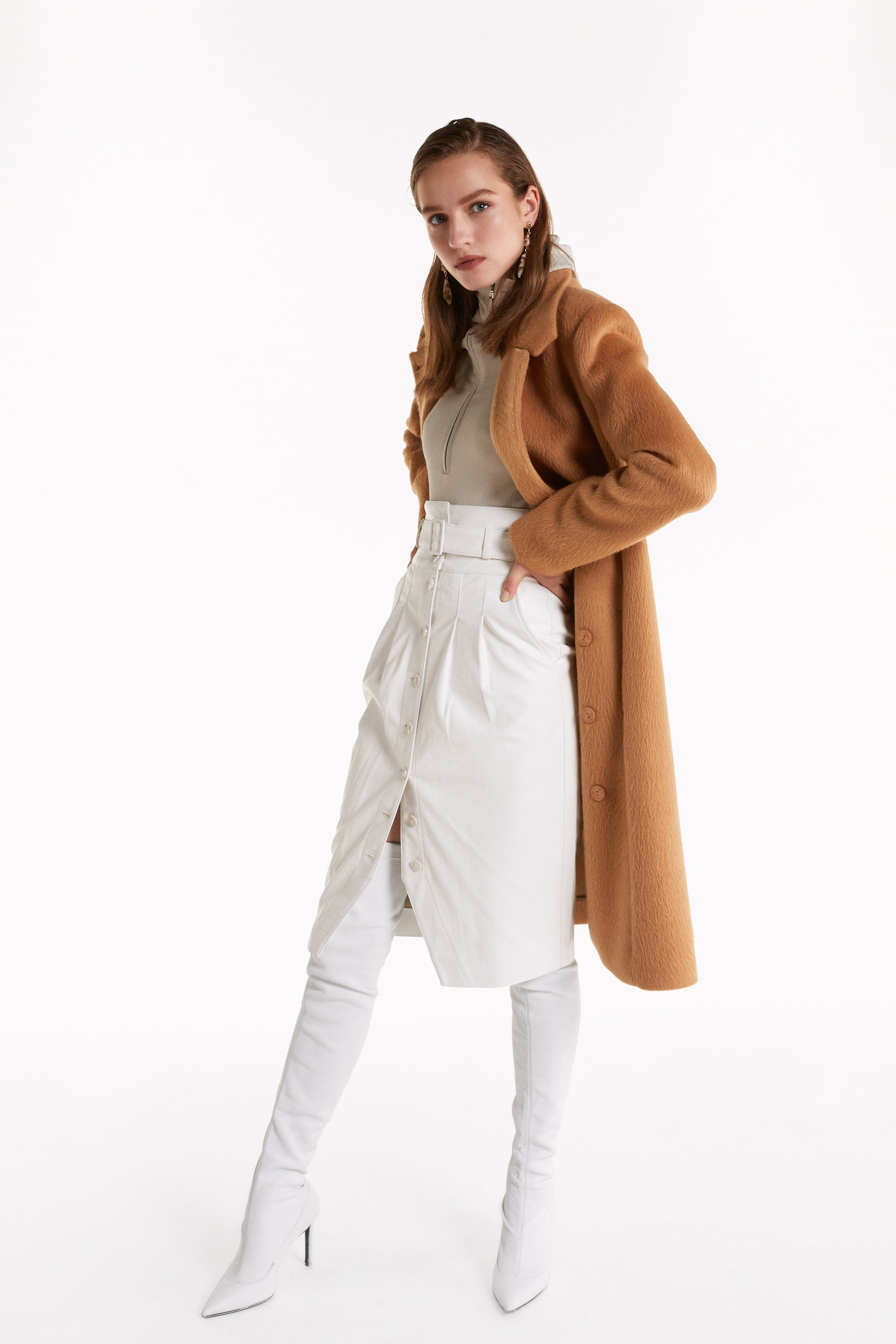 uncombed-effect midi coat