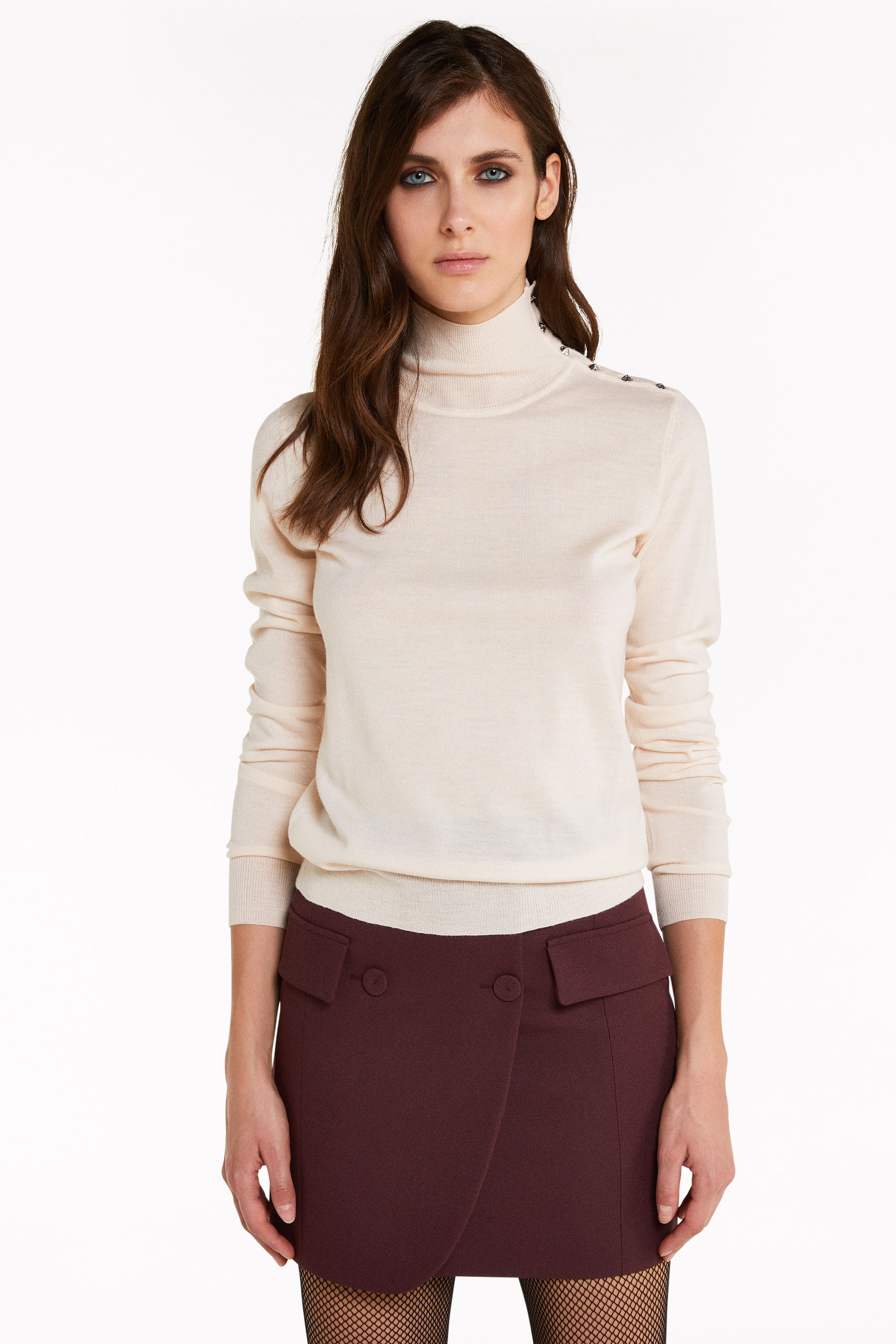High neck sweater with rivets   Patrizia Pepe