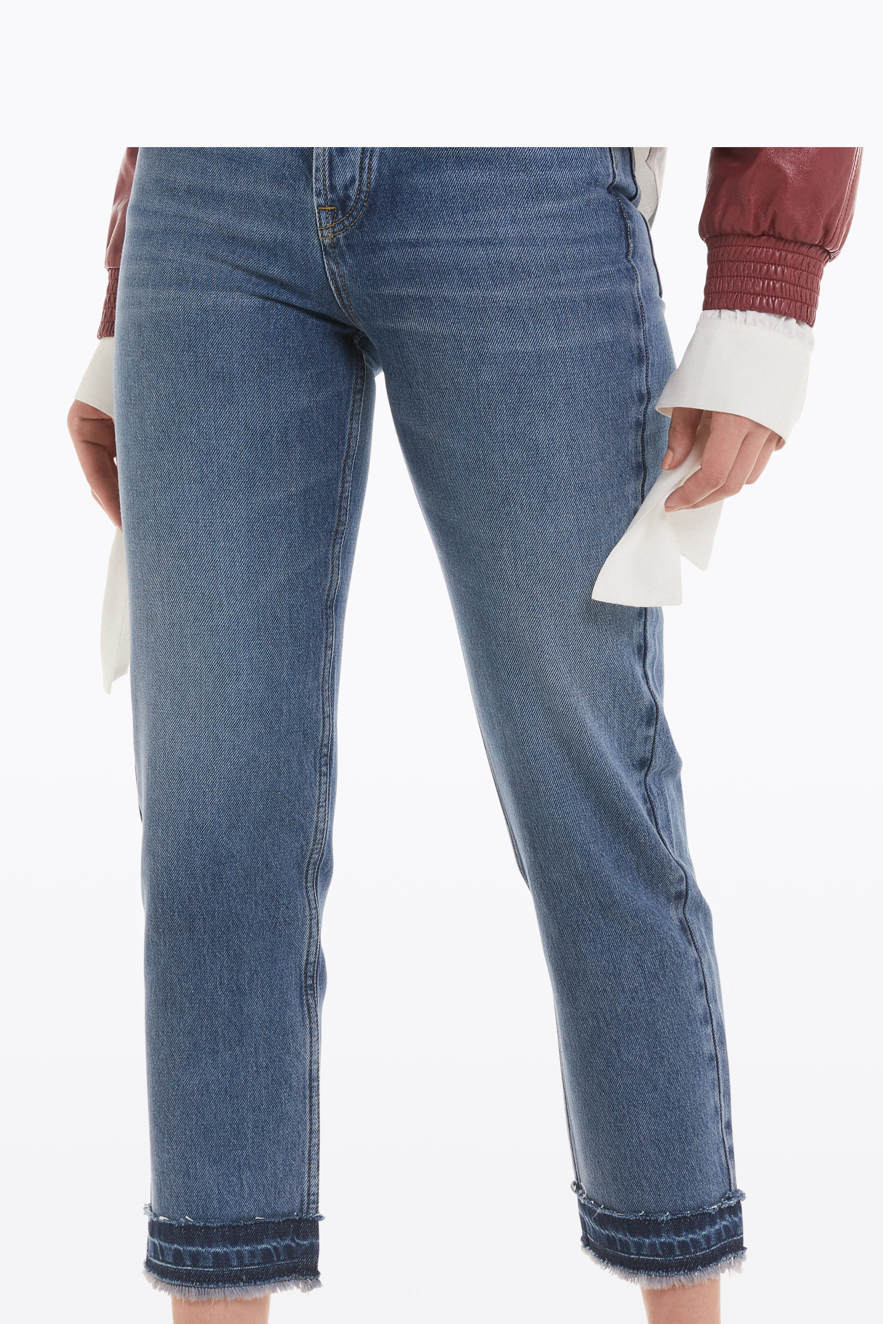 High-waisted, straight-leg jeans