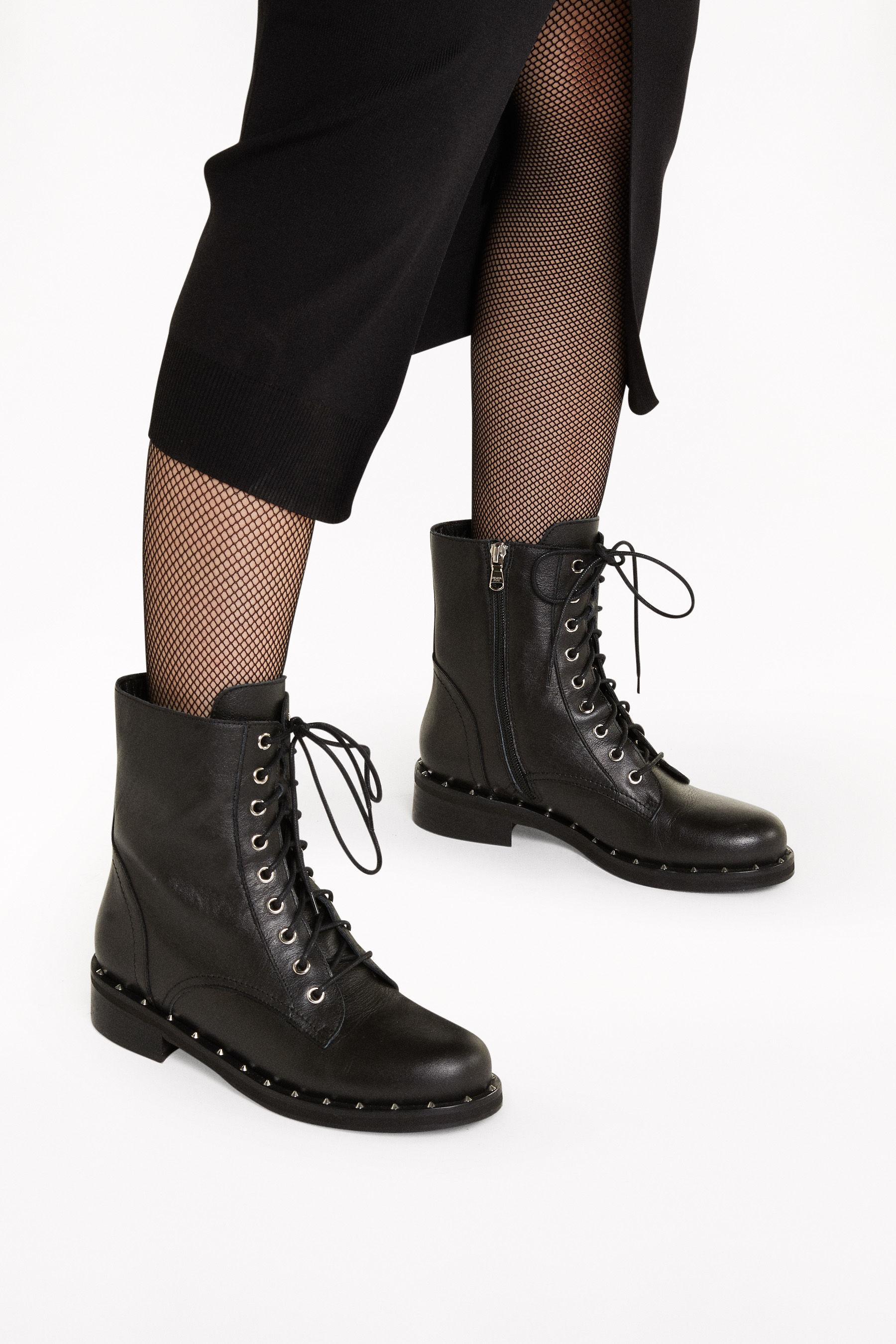 lace up black biker boots