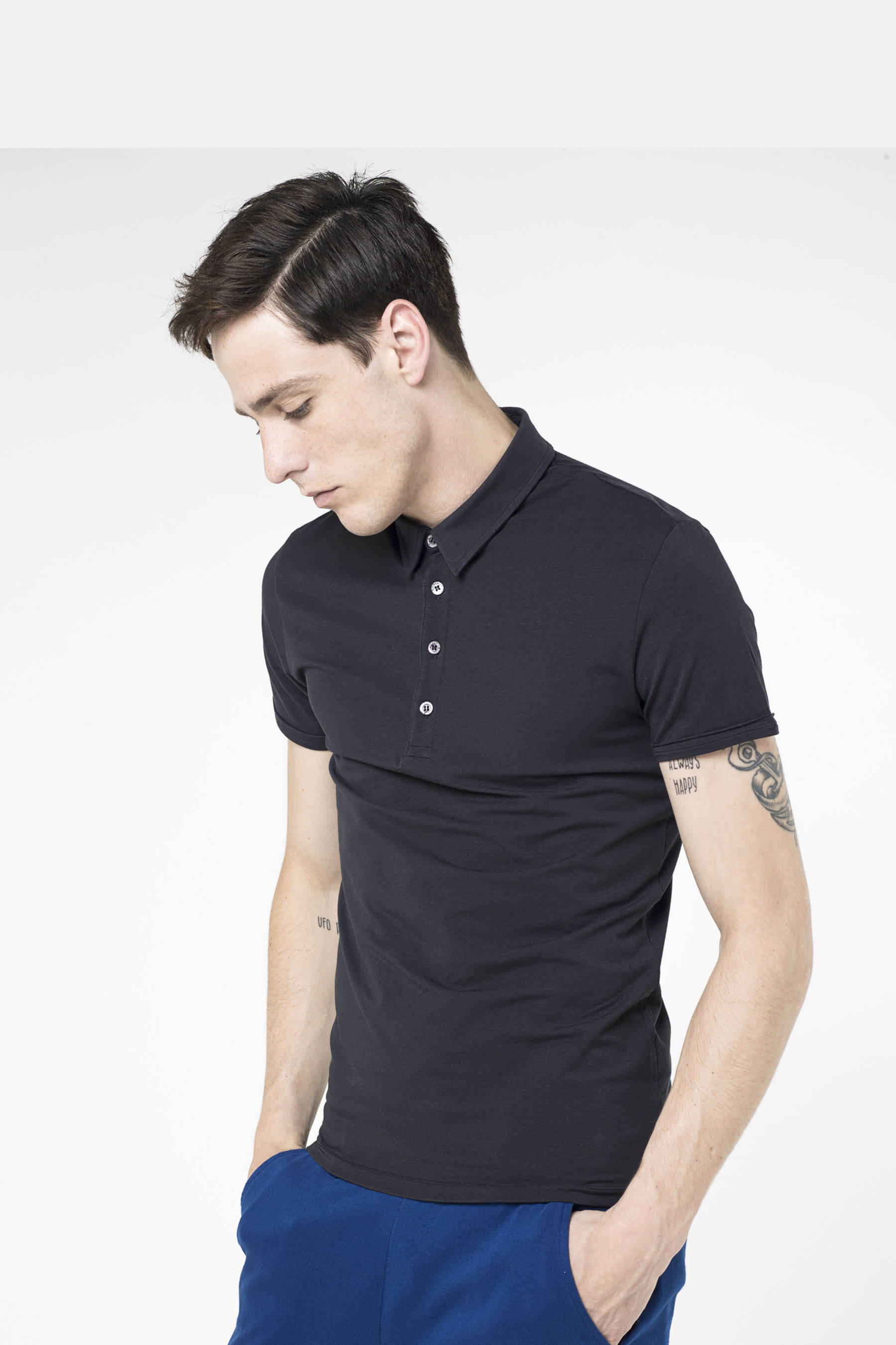 Stretch Cotton Jersey Polo T-shirt