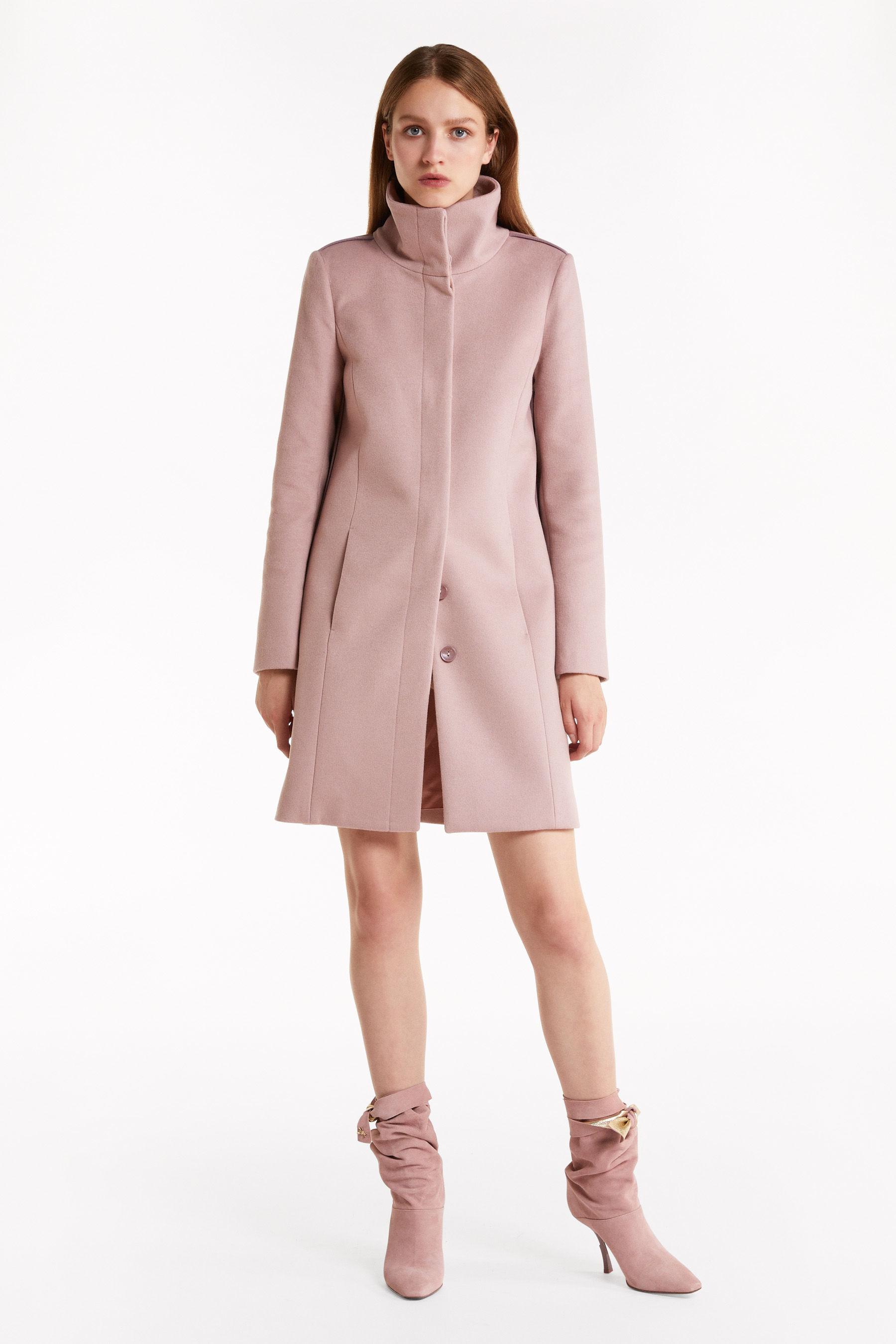 Cappotto in panno di lana collo in piedi