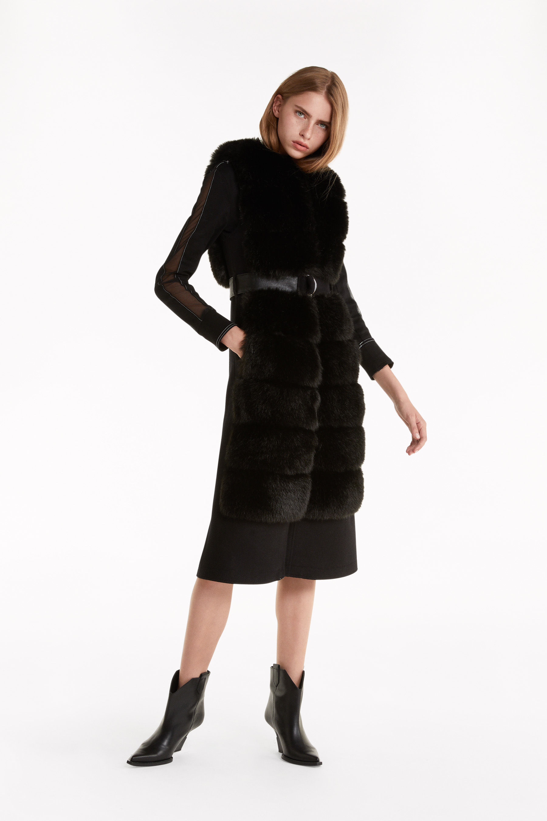 Long faux fur gilet