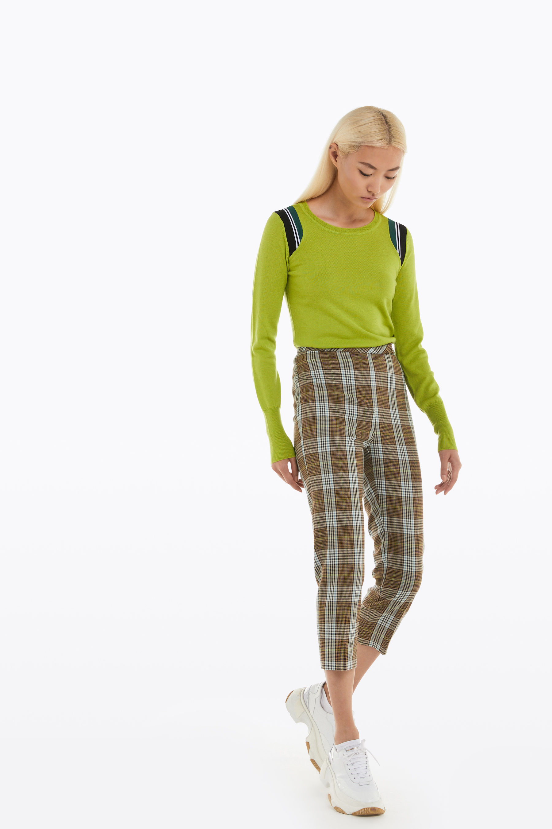 chequered cigarette trousers
