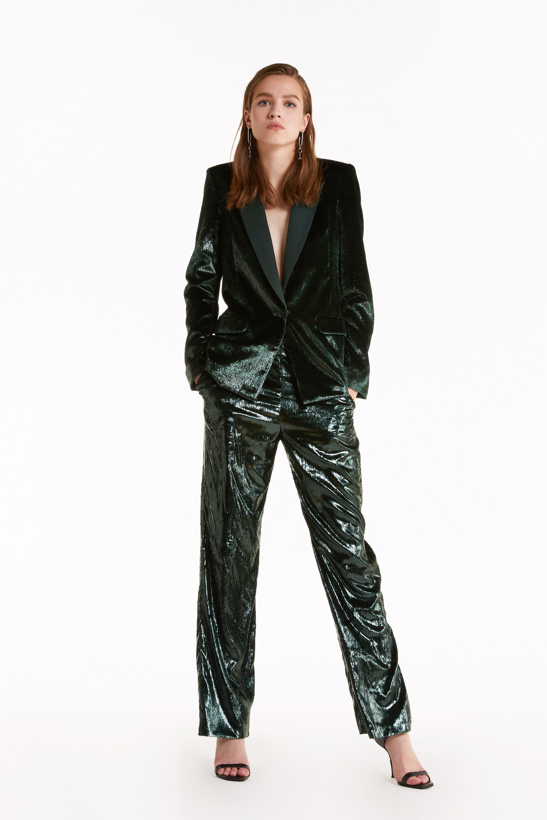 Shiny velvet trousers