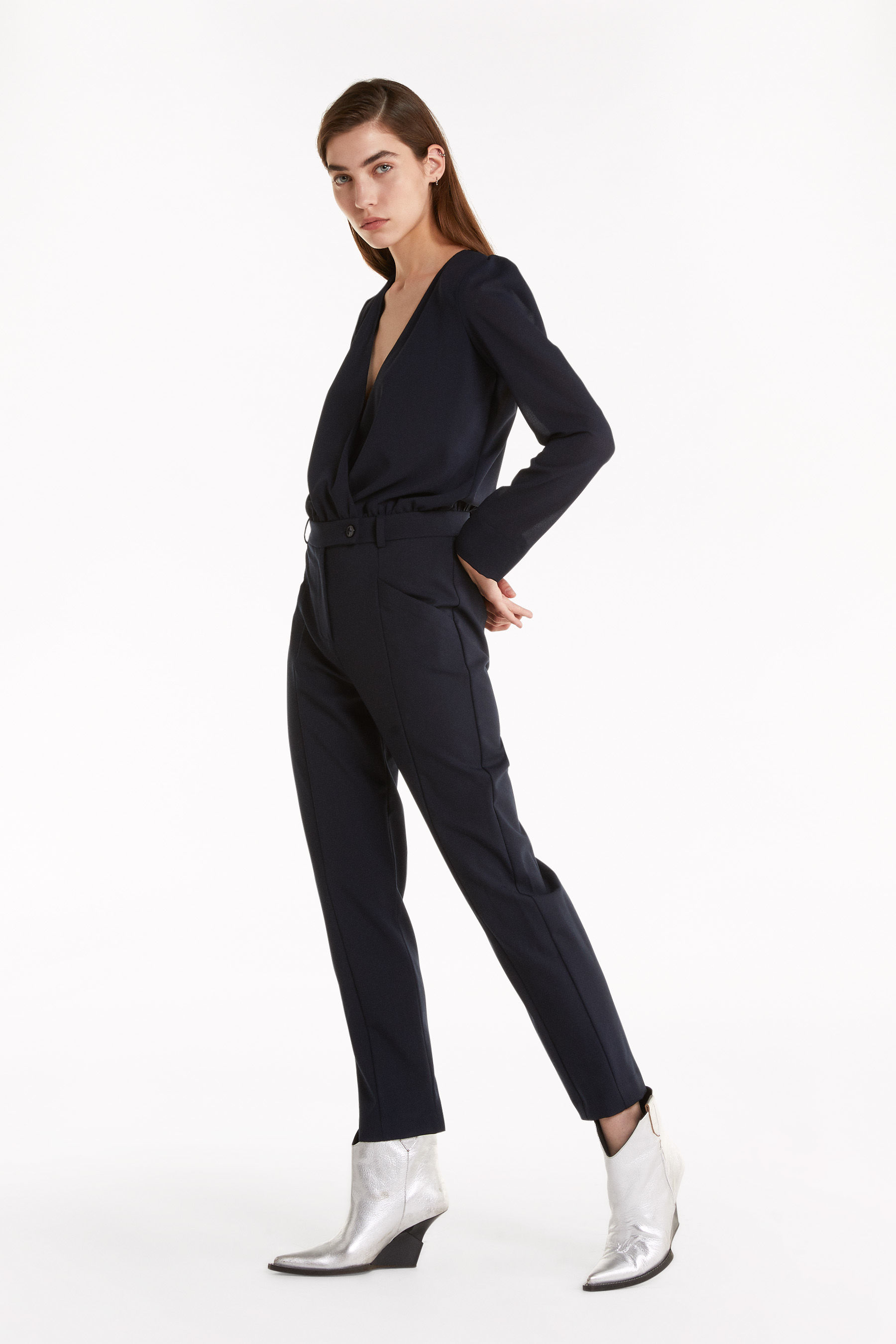 mixed-fabric jumpsuit