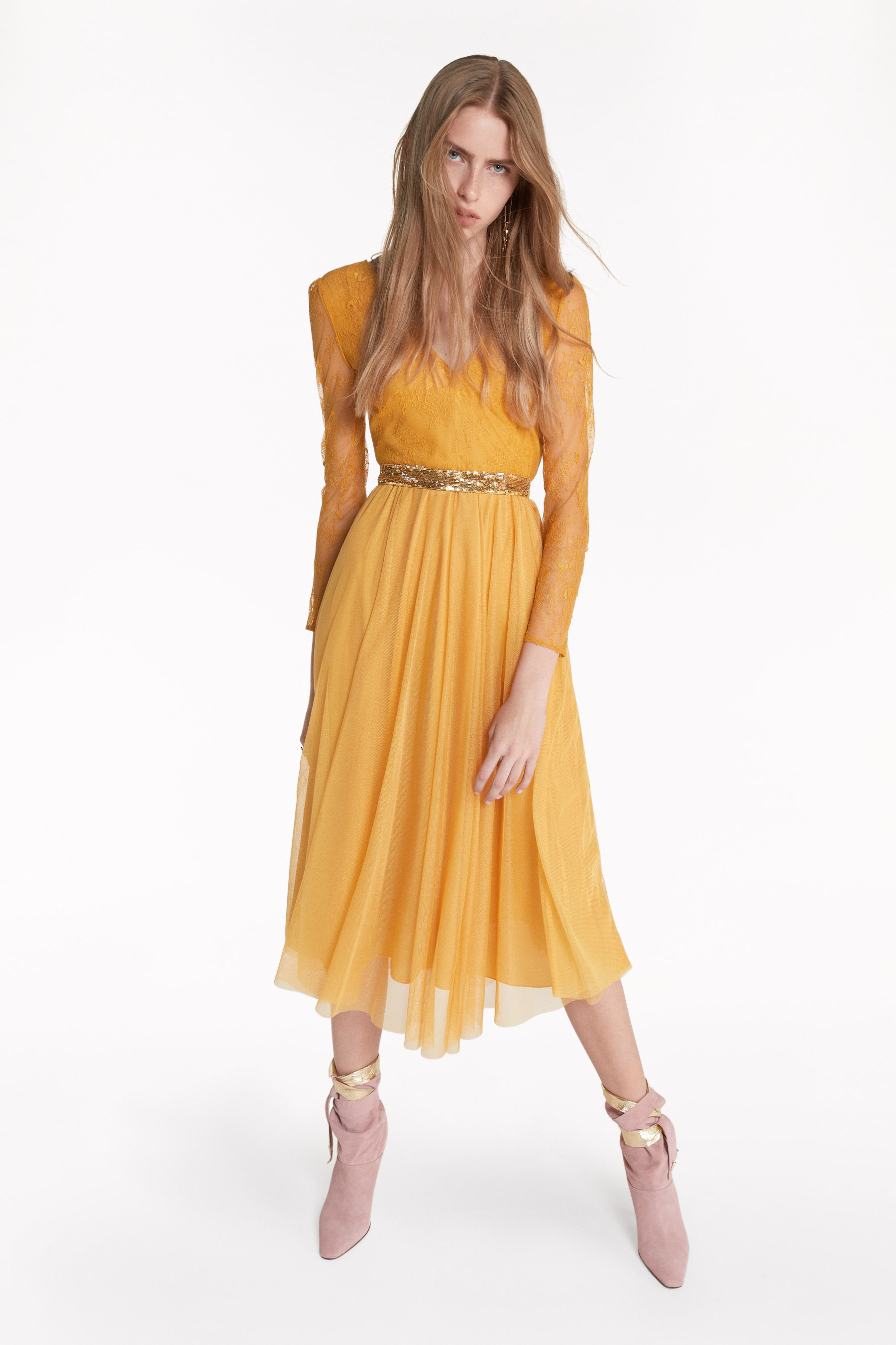 Mixed-fabric midi dress