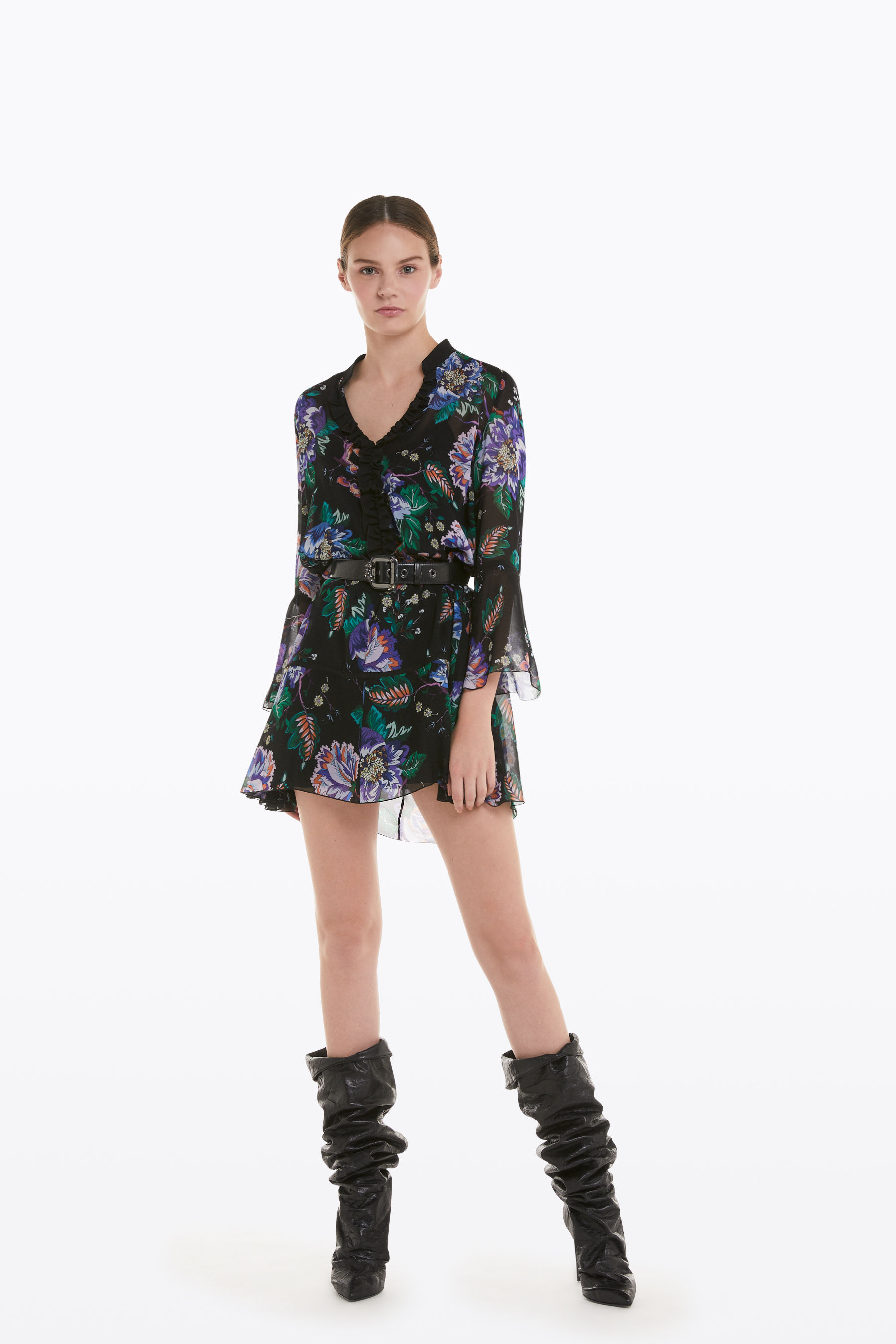 "Mini dress with ""Black Garden"" print"