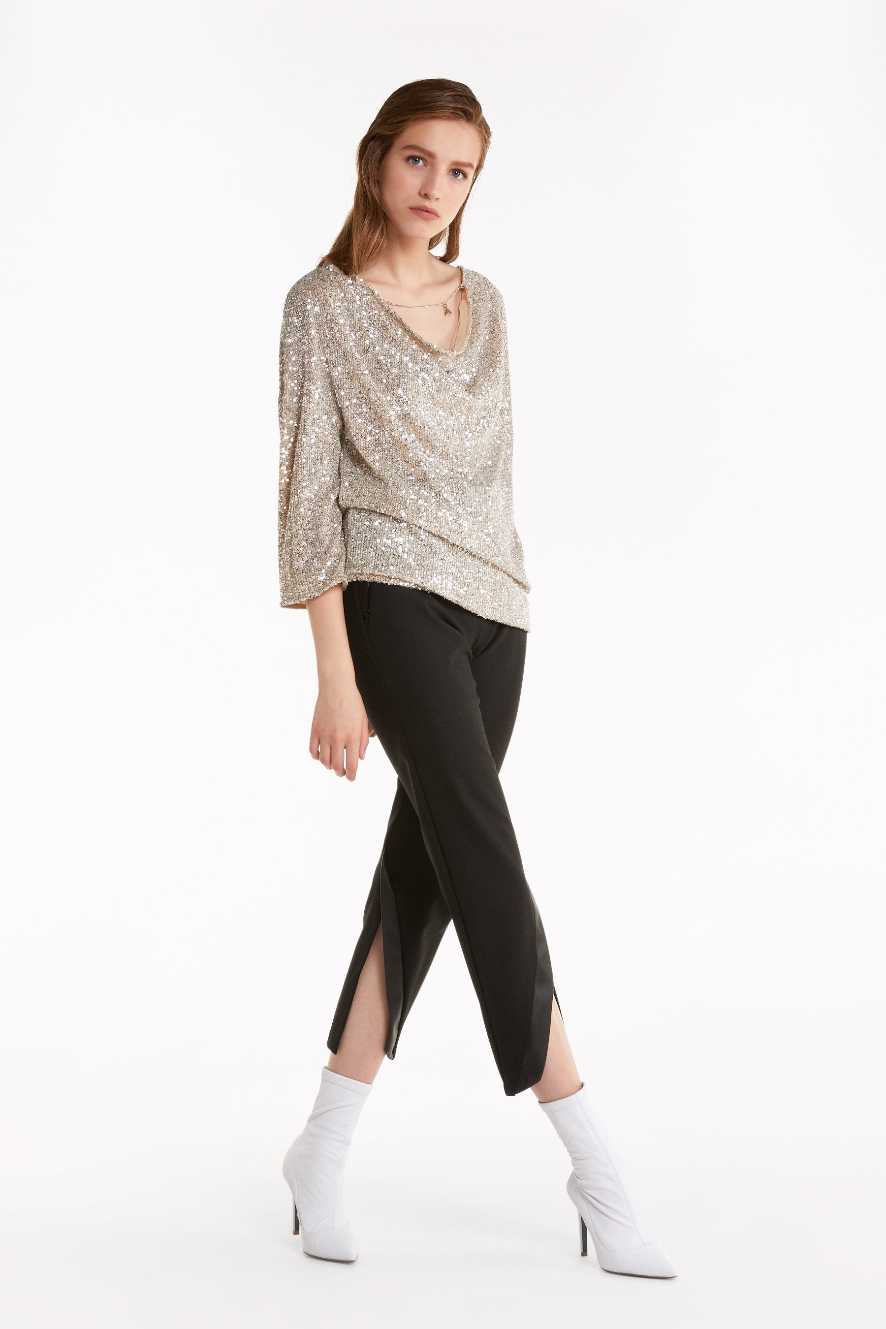 Bluse mit Allover-Pailletten