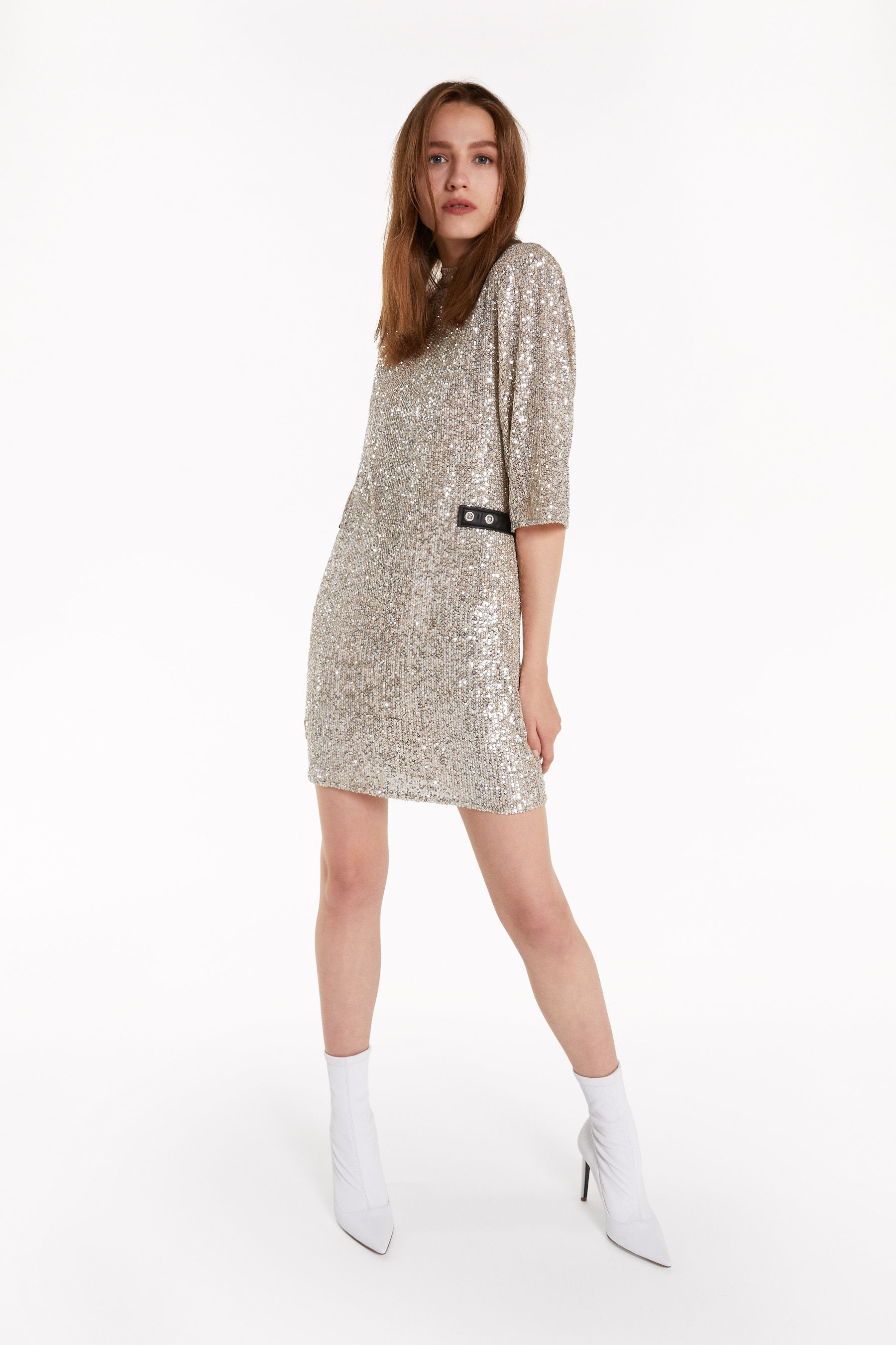 Dress with all-over sequins