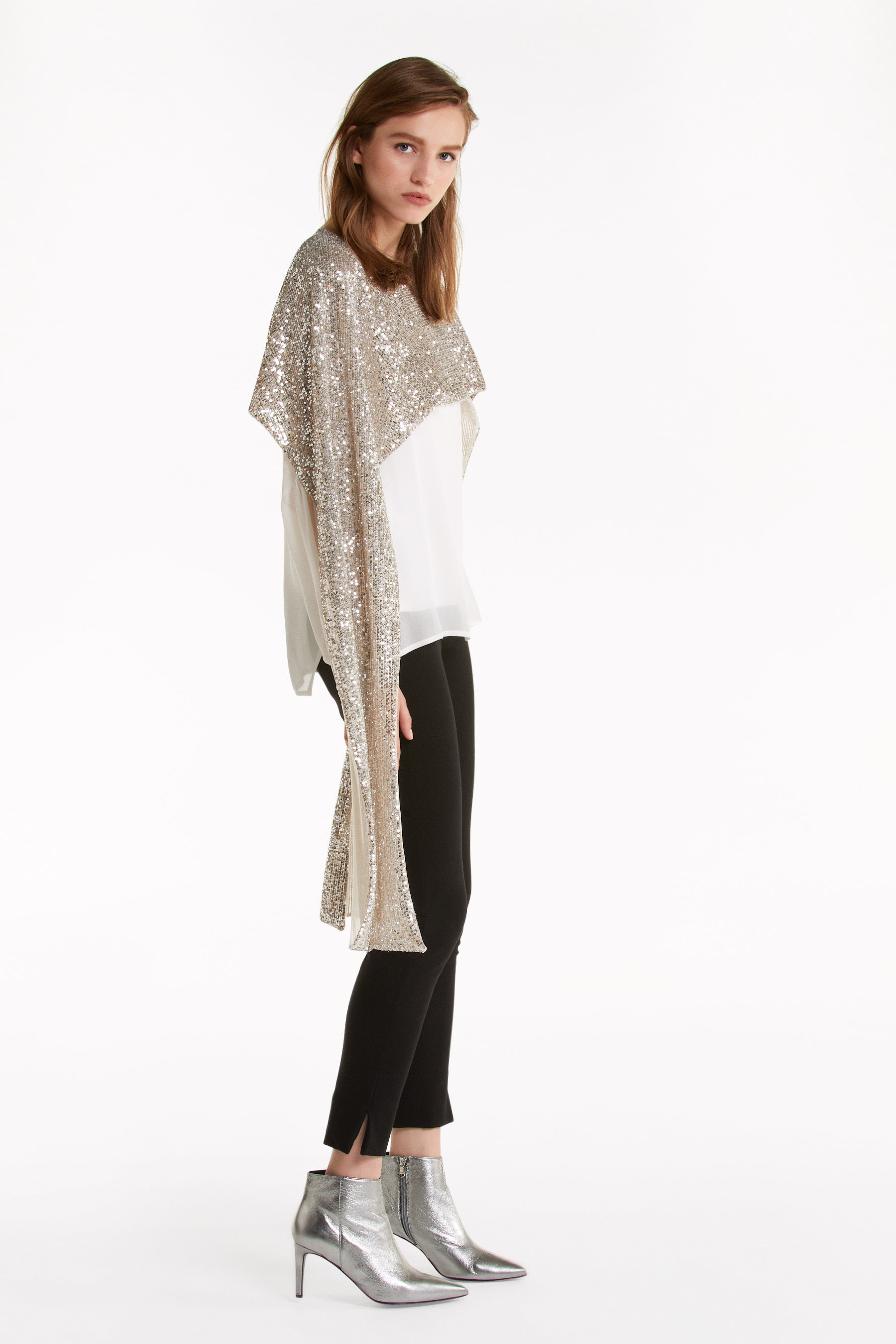 All-over sequinned shawl